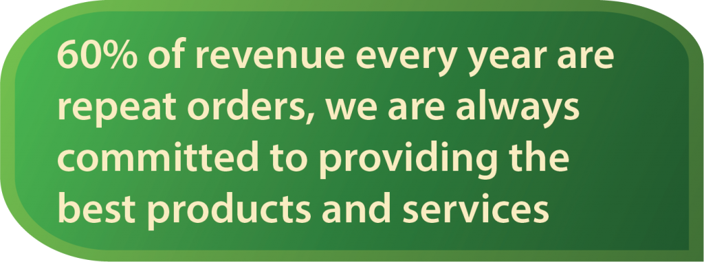 About 60% of GSI revenue every year is a repeat order, because we always provide the best service and results to the client so they always entrust the next job back to us.